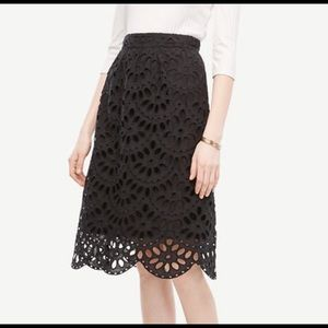 LOFT Petite Scallop Eyelet Full Skirt